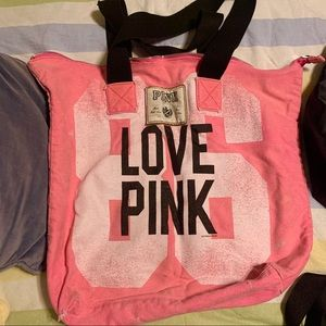 Pink Victoria's Secret LOVE PINK Zippered Tote Bag